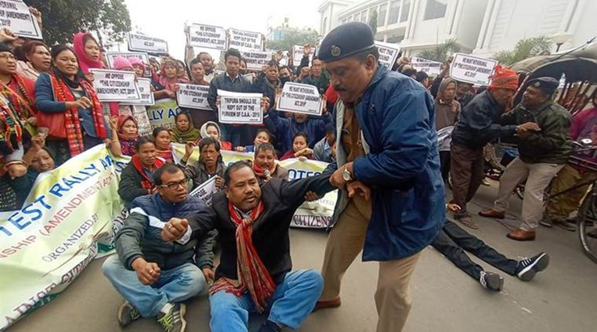 Tribal forum holds protest against CAA in Tripura